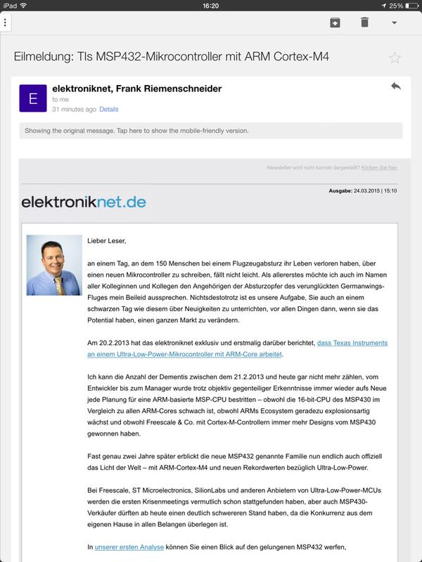 elektroniknet's painfully distasteful newsletter, sent on the day of the Germanwings tragedy