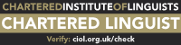 Chartered Linguist - Translator - Chartered Institute of Linguists (banner logo)